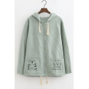 Cute Drawstring Hooded Zipper Placket Embroidery Cartoon Animal Pockets Coat