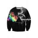 Unisex Fashion 3D Galaxy Geometric Printed Round Neck Pullover Sweatshirt