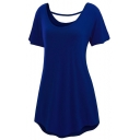 Women's Cross Back Basic Short Sleeve Comfy Loose Fit T-Shirt Dress