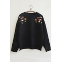 Lovely Embroidery Floral Pattern High Low Hem Long Sleeve Sweater