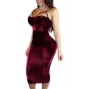 Women's Sexy Spaghetti Straps Bodycon Burgundy Maxi Dress