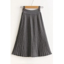 Women's Basic Elastic Waist Plain Classic Pleated A-Line Midi Skirt