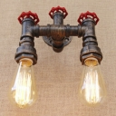 2 Light Industrial Valve Accent Wall Light in Antique Bronze