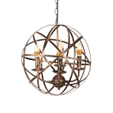 Aged Brass 4 Light Orb Chandelier in Vintage Style for Bar Counter Foyer Porch