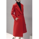 Elegant Fashion Notched Lapel Double Breasted Plain Tunic Coat