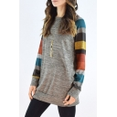 Women's Color Block Round Neck Long Sleeve Casual Mini Tee Dress