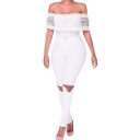 Women's Off Shoulder Lace Top High Waist Jumpsuit Flare Bell Bottom