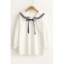 Fashion Naval Tied Neck Plain Long Sleeve Pullover Shirt Top