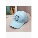 Couple Outdoor Chic Embroidery Letter Smile Face Baseball Cap