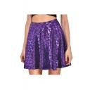 Fashion Fish Scale Printed A-Line Mini Skirt