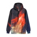 Women's Drawstring Hooded Galaxy 3D Printed Hoodie Sweatshirt with One Pocket