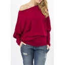Women Off the Shoulder Batwing Sleeve Loose Fit Pullover T Shirt Tunic Top