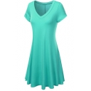 Women's V-Neck Short Sleeve Plain T-Shirt Midi Dress