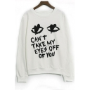 Fashion Eyes Letter Printed Long Sleeve Graphic Pullover Sweatshirt
