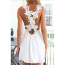 Women's Fashion Crisscross Back V-Neck Sleeveless A-Line Mini Dress