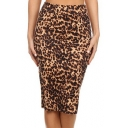 Women's Fashion Leopard Print High Rise Midi Pencil Skirt