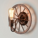 Rust Iron Single Light Wall Sconces with Wheel Shape in Vintage Style