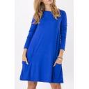 Women's Basic Long Sleeve Pockets Casual Swing Plain Tshirt Dress