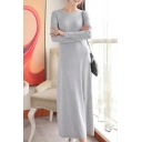 Women's Round Neck Long Sleeve Casual Plain Maxi T-Shirt Dress
