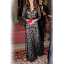 Women's Elegant V-Neck Long Sleeve Lace Patched Evening Party Maxi Dress