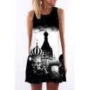 Women's Castle Painting Print Sleevess Boat Neck Color Block Mini Swing Tank  Dress