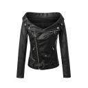 Women's Fashion Boat Neck Zip Fly Long Sleeve PU Coat with Belt