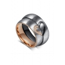 Couple Half Heart Cutout Pattern titanium Steel Ring