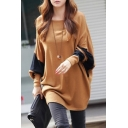 Women Scoop Neck Color Block Batwing Loose Tunic Top
