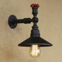 Black Pipe Arm Single Light Industrial Sconce with Metal Shade