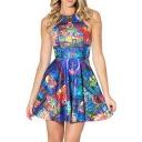 Summer Pleated Print Castle Reversible Skater Dress