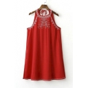 Women's Fashion Embroidered Halter Collar Sleeveless Casual Swing Dress