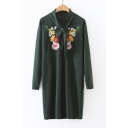 Women's Round Neck Tie Front Long Sleeve Floral Embroidery Midi Shift Dress