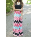 Women's Striped Zig Zag Scoop Neck Chevron Print Tank Maxi Long Dress