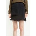 Fashion Rough Hem Plain Asymmetric Skirt with One Pocket