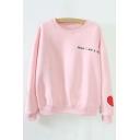 Women's Letter Print Sweetheart Embroidery Round Neck Long Sleeve Sweatshirt