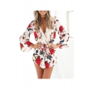 Sexy V-Neck Wrap Front Drawstring Waist Floral Printed 3/4 Length Sleeve Rompers