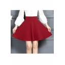 Chic Women's Plain A-Line Mini Bubble Skirt