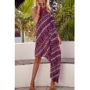 Women's One Shoulder Tribal Print Asymmetrical Hem Maxi Dress