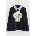 New Stylish Striped Lapel and Cuffs Graphic Printed Raglan Sleeve False Two-Piece Pullover Sweatshirt