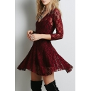 Sexy Chic Floral Lace Pattern V-Neck 3/4 Length Sleeve Plain Mini Asymmetric Dress