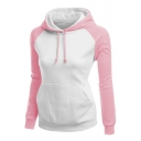 Women's Fashion Long Sleeve Color Block Hoodie with Pockets