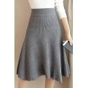 Women's Winter High Rise Plain A-Line Midi Skirt