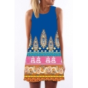 Women's Round Neck Sleeveless Digital Print Shirts Tank Top Mini Dress