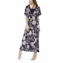 Women's Scallop Printed Summer Maxi Dress