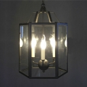 Full Sized Industrial 3-Light Chain Hanging Pendant Chandelier in Black