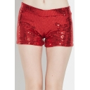 Fit Uniform Sequin Embellished Sparkling Trim Shorts