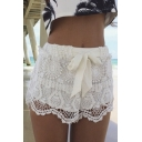 Women's Sexy Elastic Openwork Celeb Lace Crochet Bow Shorts