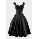 Vintage V-Neck Cap Sleeve Plain Midi A-Line Flare Dress