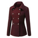 Women's Double Breasted Lapel Collar Long Sleeve Plain Woolen Coat