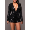 Women's Sexy Sequin Deep V Neck Backless Bodycon Shorts Rompers Jumpsuit